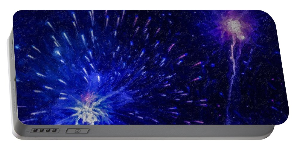 Fireworks At Night Portable Battery Charger featuring the painting Fireworks At Night 1 by Jeelan Clark