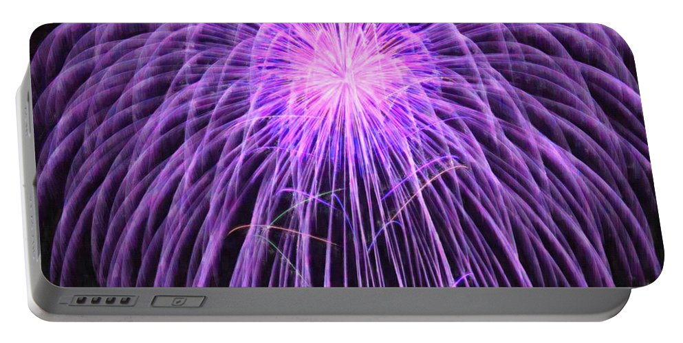 Fireworks At Night Portable Battery Charger featuring the painting Fireworks At Night 2 by Jeelan Clark