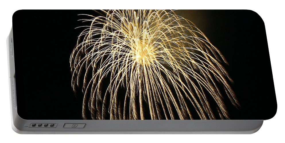 Fireworks At Night Portable Battery Charger featuring the painting Fireworks At Night 3 by Jeelan Clark