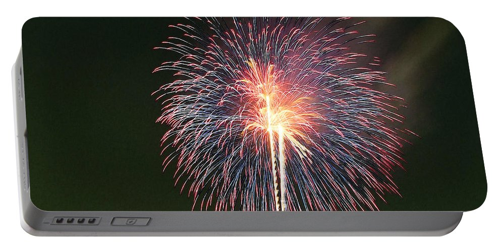 Fireworks At Night Portable Battery Charger featuring the painting Fireworks At Night 9 by Jeelan Clark