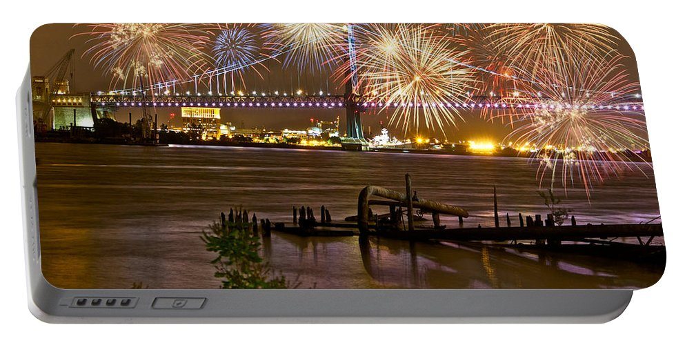 Fireworks Portable Battery Charger featuring the photograph Fireworks On The Ben by Alice Gipson