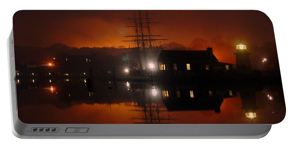 Ship Portable Battery Charger featuring the photograph Firey Fog by Joe Geraci