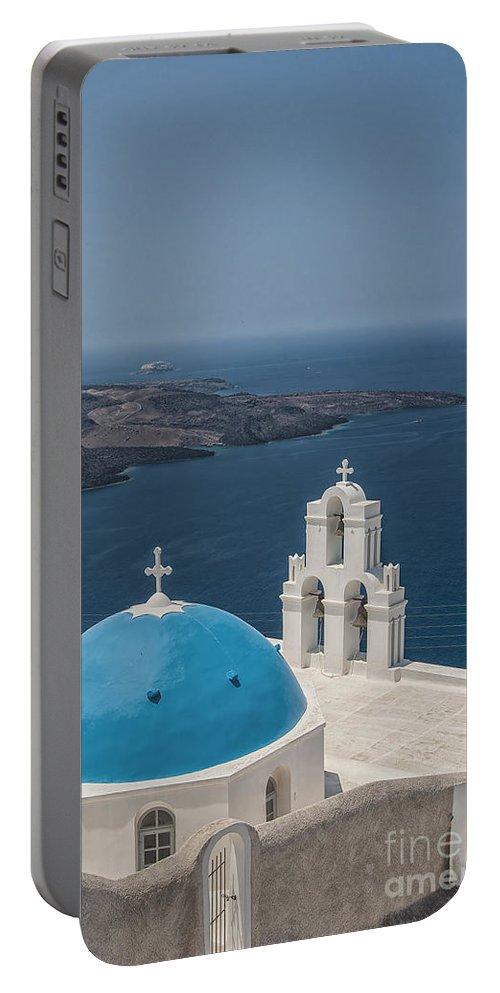 Firostefani Portable Battery Charger featuring the photograph Firostefani Church On Santorini by Antony McAulay