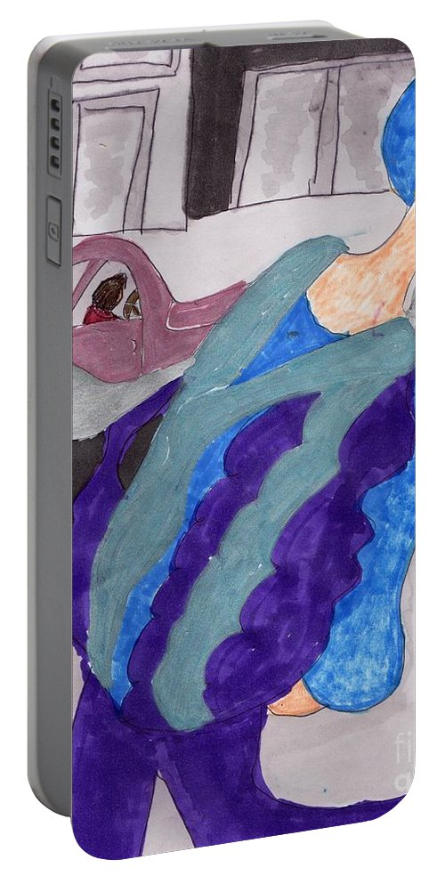 Model In Purple And Blue Jacket Portable Battery Charger featuring the mixed media First Day In New York by Elinor Helen Rakowski