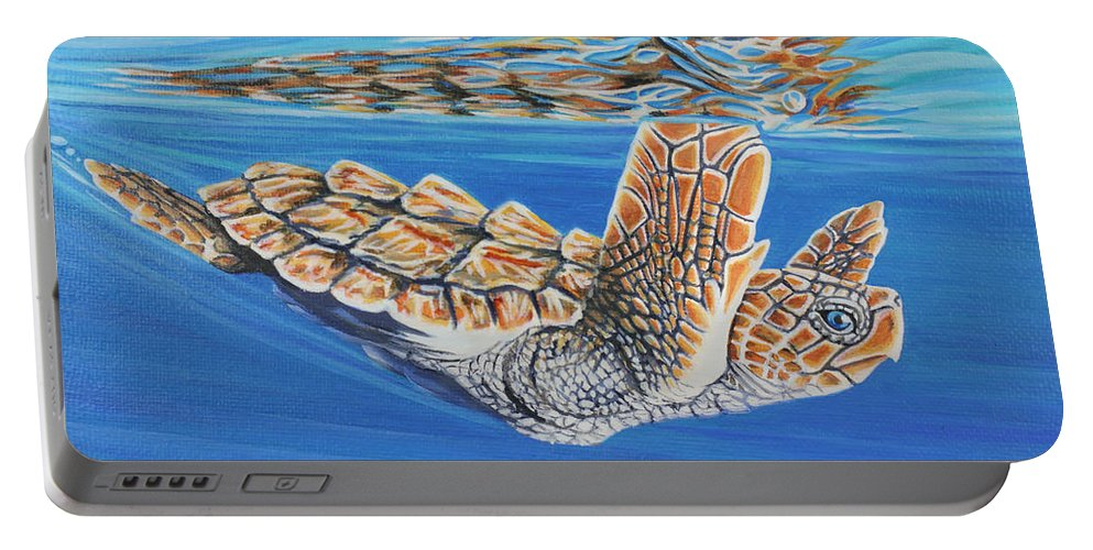 Ocean Portable Battery Charger featuring the painting First Dive by Jane Girardot