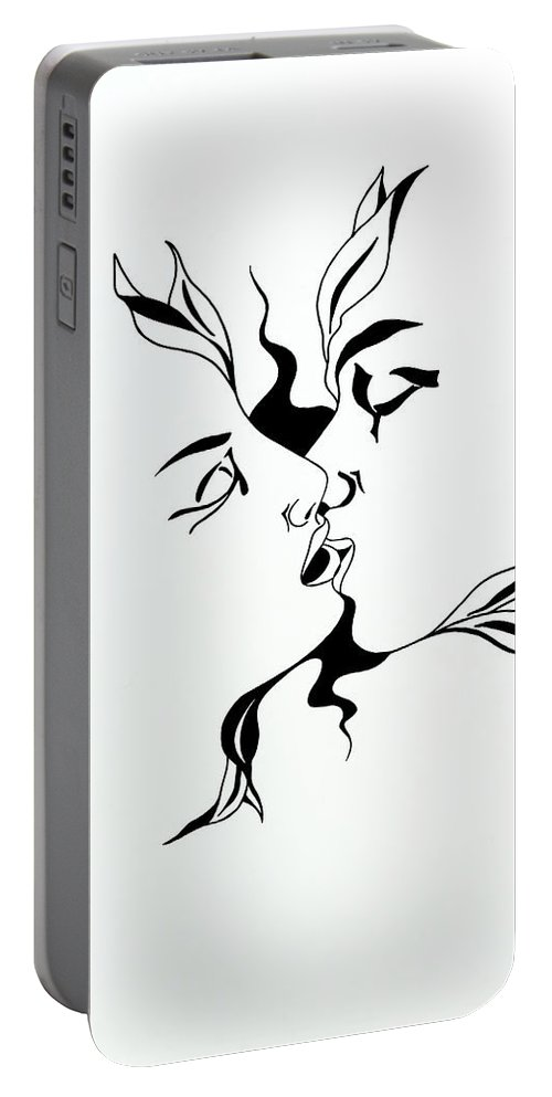 Love Portable Battery Charger featuring the drawing First Kiss by Yelena Tylkina