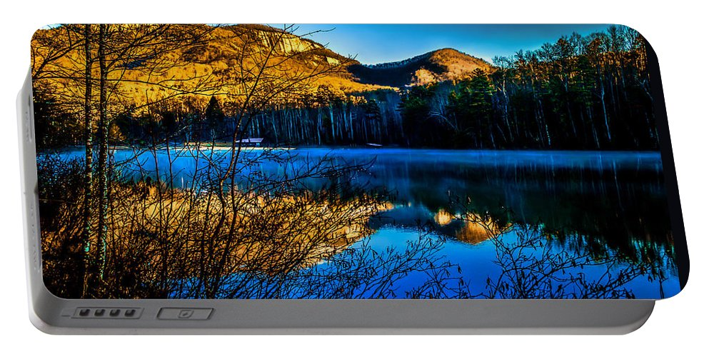 Optical Playground By Mp Ray Portable Battery Charger featuring the photograph First Light At Pinnacle Lake by Optical Playground By MP Ray