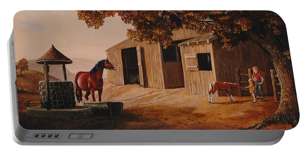 Farm Portable Battery Charger featuring the painting First Meeting by Duane R Probus