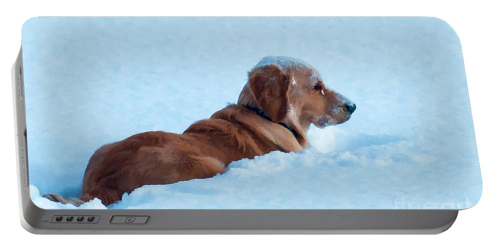 Golden Retriever Portable Battery Charger featuring the photograph First Snow Bliss by Bianca Nadeau
