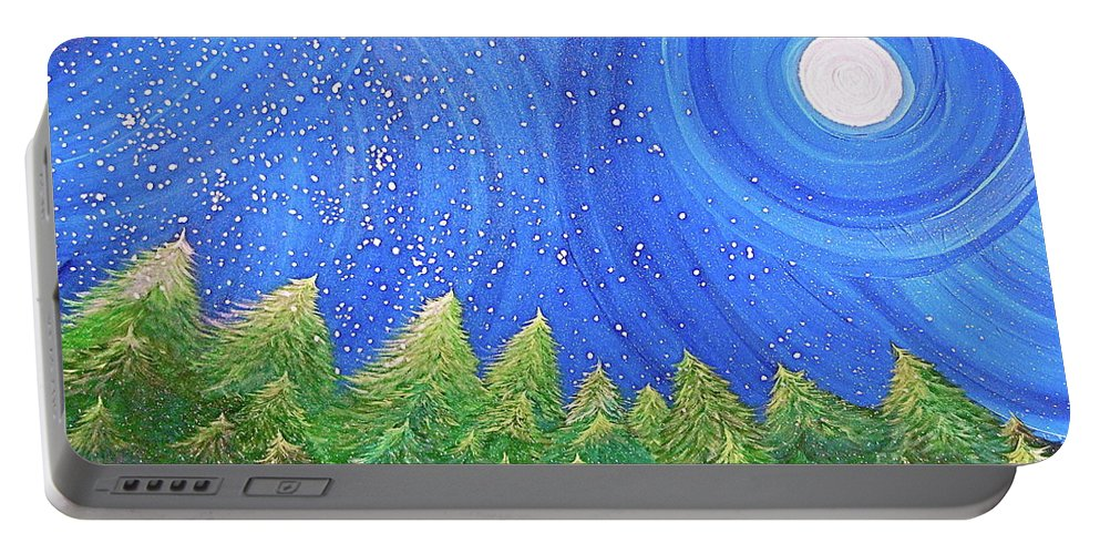Snow Portable Battery Charger featuring the painting First Snow By Jrr by First Star Art
