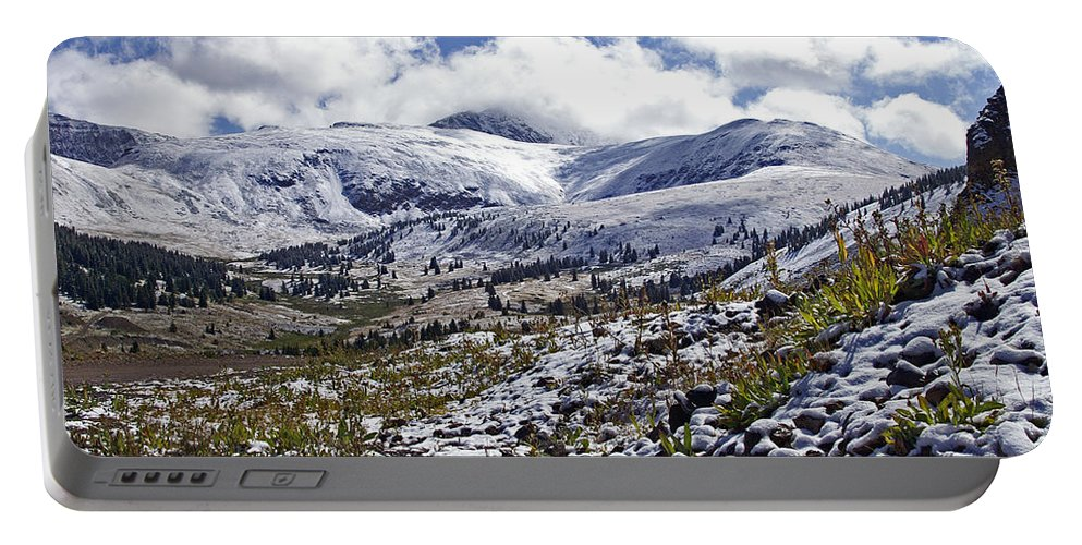 Landscapes Portable Battery Charger featuring the photograph First Snow by Jeremy Rhoades