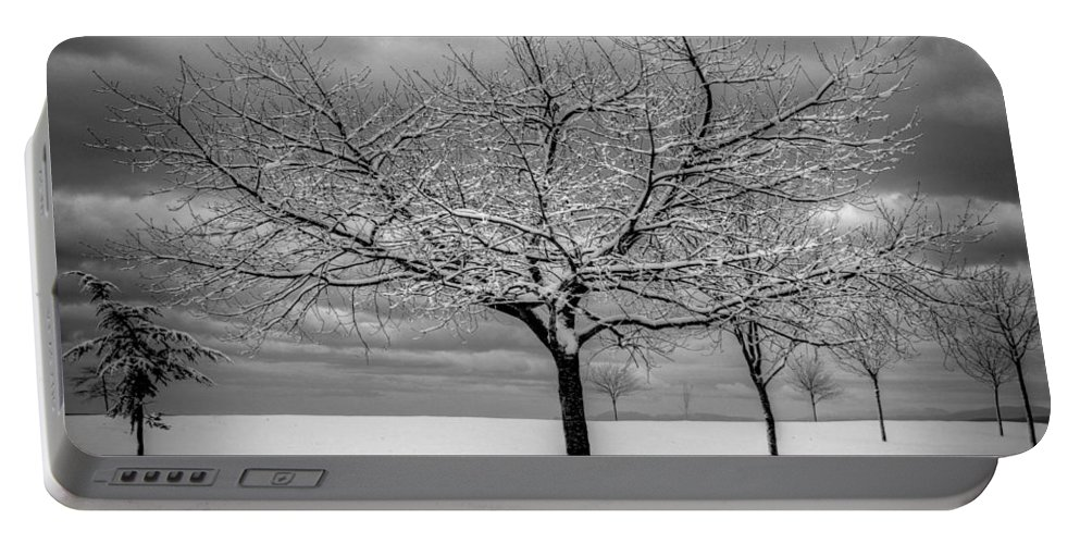 Landscape Portable Battery Charger featuring the photograph First Snow by Randy Hall