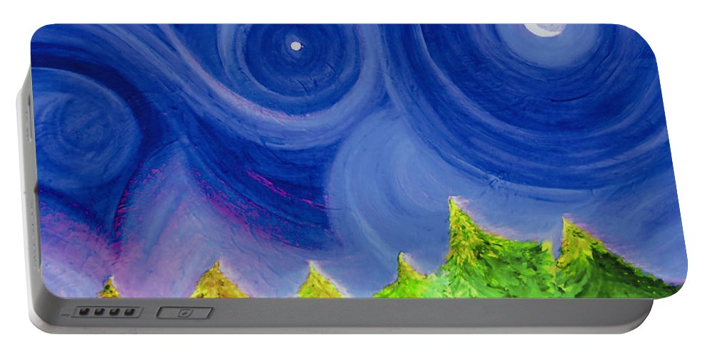 Trees Portable Battery Charger featuring the painting First Star By Jrr by First Star Art