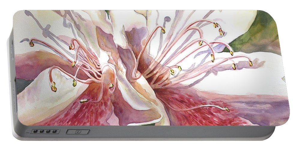 Azaleas Portable Battery Charger featuring the painting First Thoughts Of Spring by Roxanne Tobaison