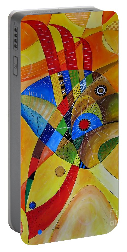 Graphic Portable Battery Charger featuring the painting Fish 752 - Marucii by Marek Lutek