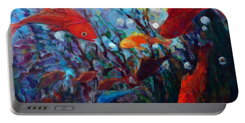 Fish Portable Battery Charger featuring the painting Fish Chatter by Nanci Cook