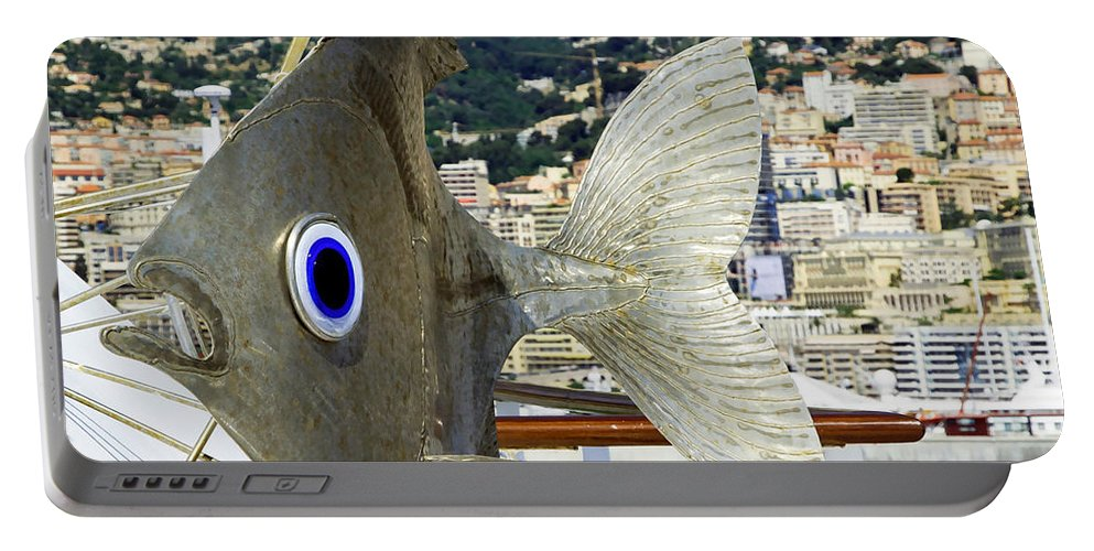 Sculpture Portable Battery Charger featuring the photograph Fish Out Of Water by Keith Armstrong
