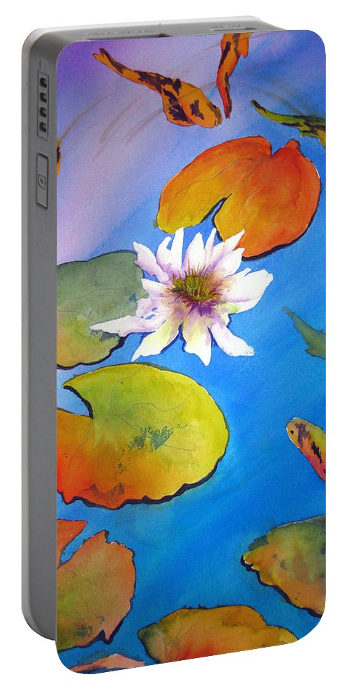 Lil Taylor Portable Battery Charger featuring the painting Fish Pond I by Lil Taylor