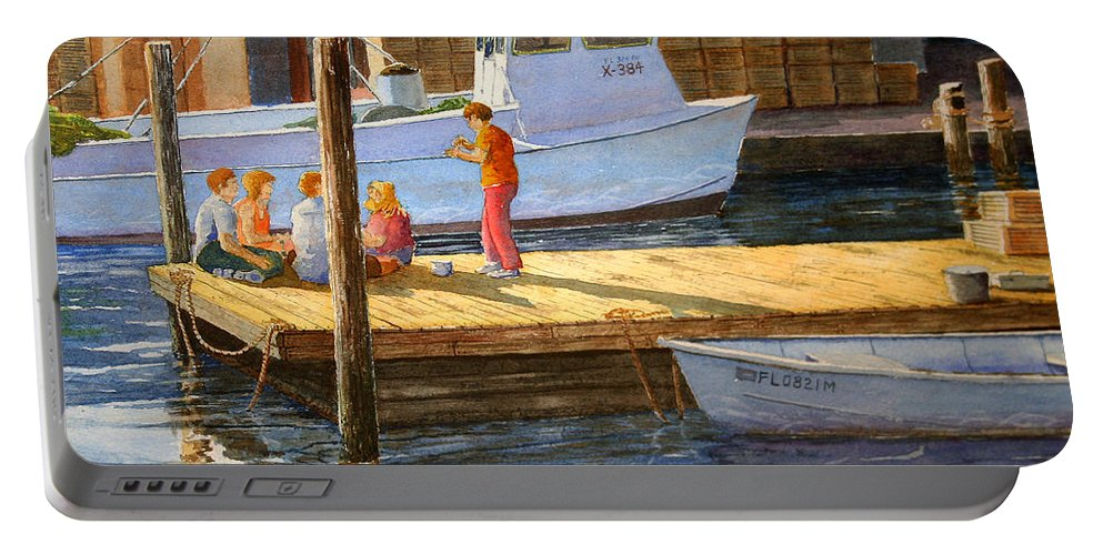 Boats Portable Battery Charger featuring the painting Fish Tales At Cortez by Roger Rockefeller