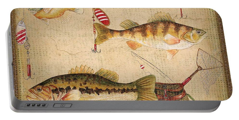 Acrylic Painting Portable Battery Charger featuring the painting Fish Trio-a-basket Weave Border by Jean Plout