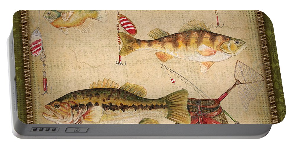Acrylic Painting Portable Battery Charger featuring the painting Fish Trio-a-greenborder by Jean Plout