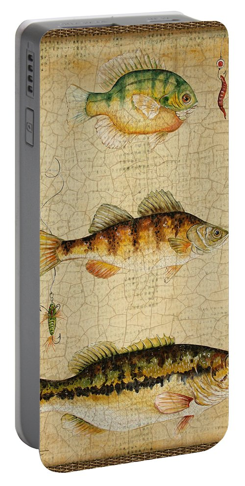 Acrylic Painting Portable Battery Charger featuring the painting Fish Trio-c-basket Weave by Jean Plout