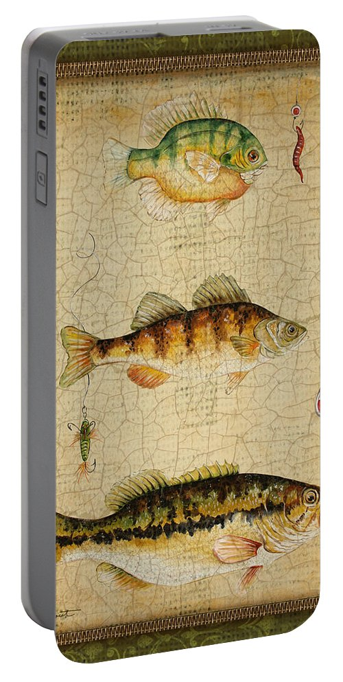 Acrylic Painting Portable Battery Charger featuring the painting Fish Trio-c-green by Jean Plout