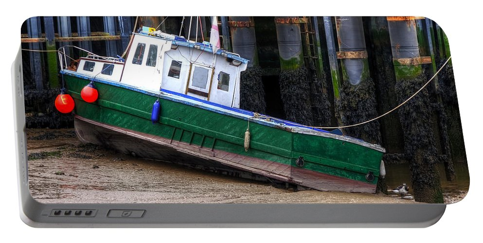 Anchored Portable Battery Charger featuring the photograph Fisherman Boat by Svetlana Sewell