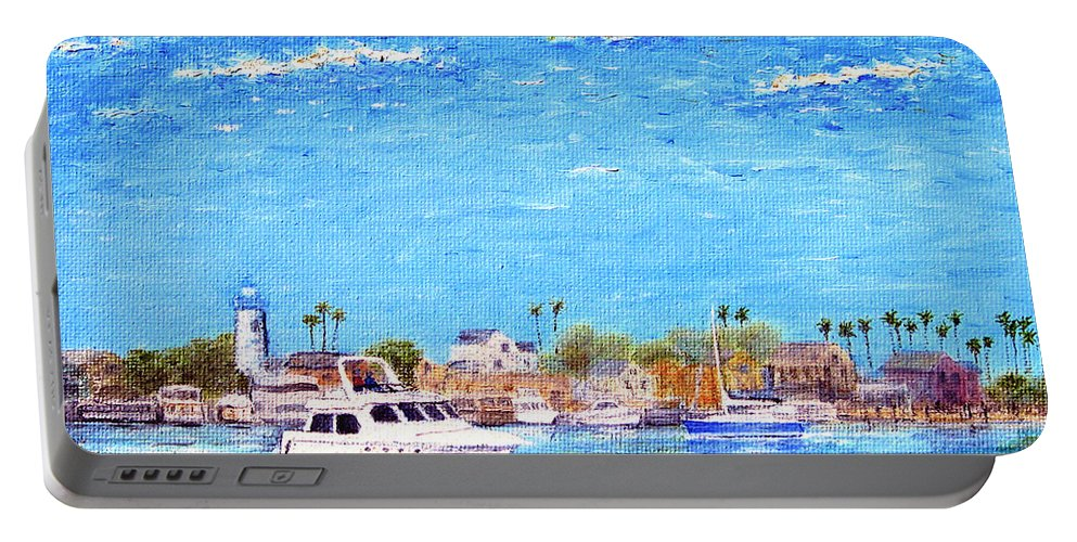 Boat Portable Battery Charger featuring the painting Fisherman's Village by Jerome Stumphauzer