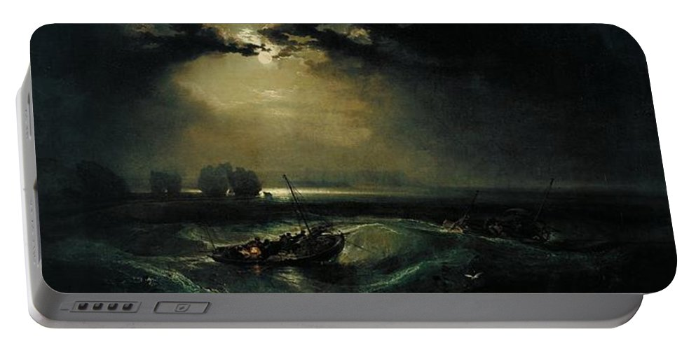 1796 Portable Battery Charger featuring the painting Fishermen At Sea by JMW Turner