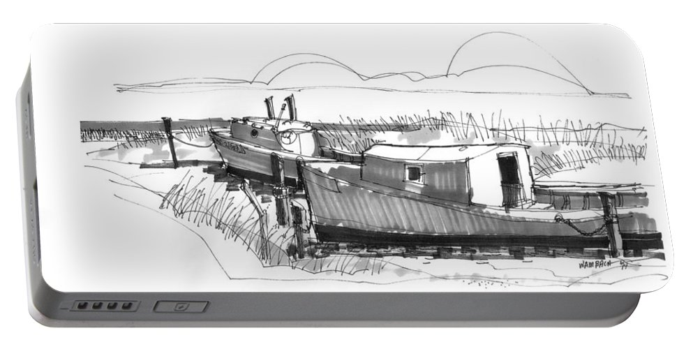 Ocracoke Portable Battery Charger featuring the drawing Fishers At Rest Ocracoke Nc 1970s by Richard Wambach