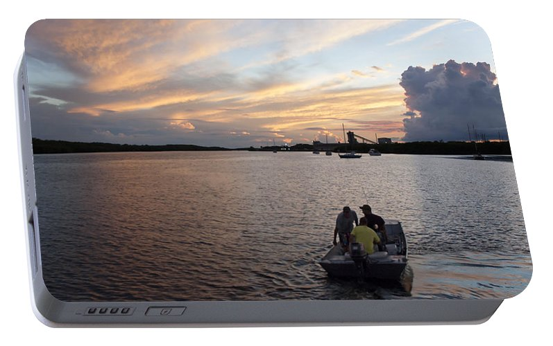 Sunset Portable Battery Charger featuring the photograph Fishers Of The Night by Norman Johnson