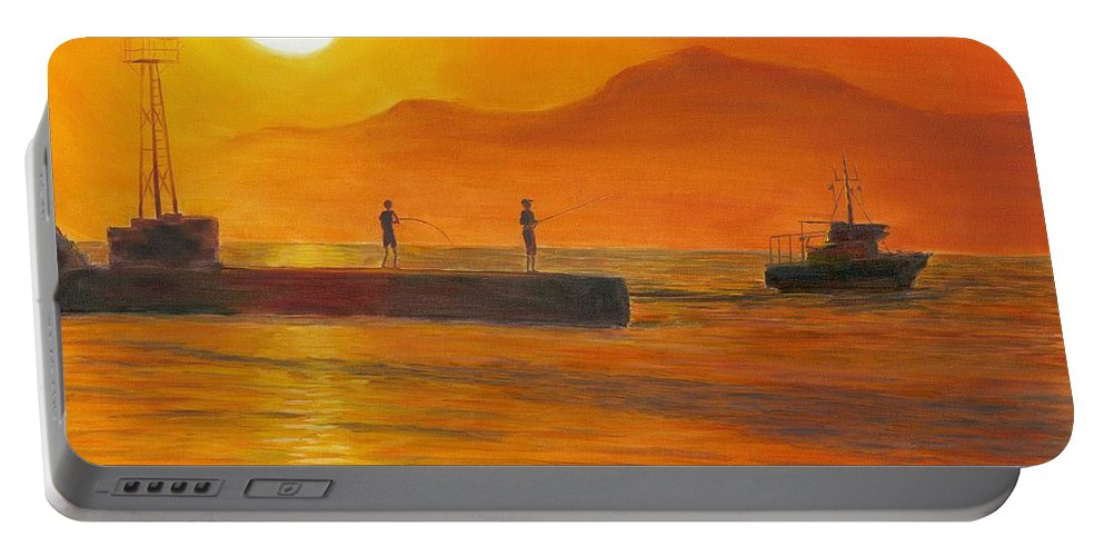 Sunset Portable Battery Charger featuring the painting Fishing At Sunset by Nicolas Nomicos