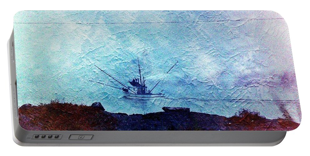 Fishing Portable Battery Charger featuring the photograph Fishing Boat As A Painting by Karl Rose