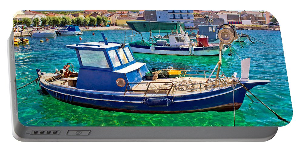 Croatia Portable Battery Charger featuring the photograph Fishing Boat On Turquoise Sea by Brch Photography