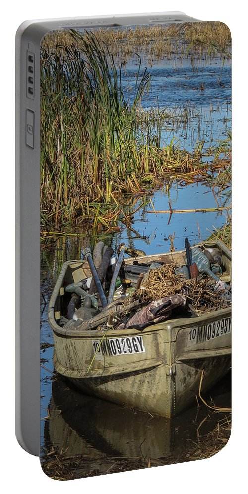 Boat Portable Battery Charger featuring the photograph Opening Day Hunting Boat by Patti Deters