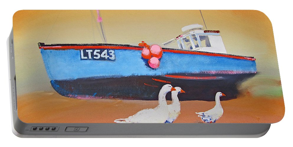 Geese Portable Battery Charger featuring the painting Fishing Boat Walberswick With Geese by Charles Stuart