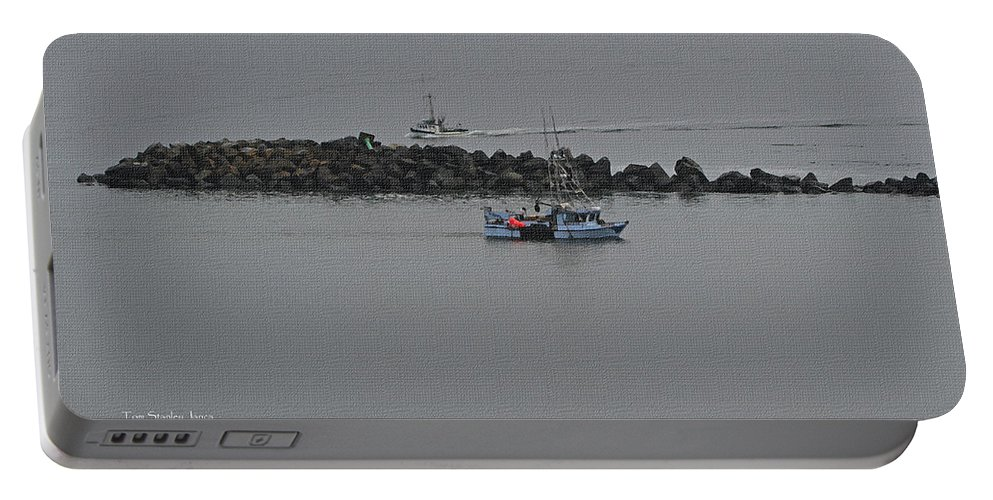 Fishing Boats Portable Battery Charger featuring the photograph Fishing Boats Almost Home For The Night by Tom Janca