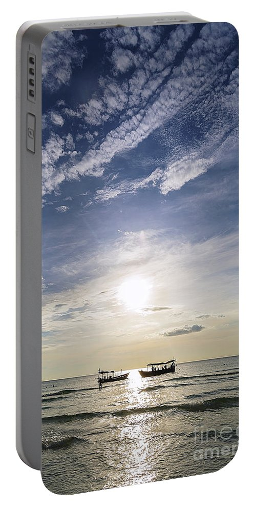 Asia Portable Battery Charger featuring the photograph fishing boats at sunset in koh rong Cambodia by Jacek Malipan