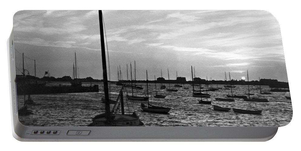 1930's Portable Battery Charger featuring the photograph Fishing Boats At Sunset by Underwood Archives