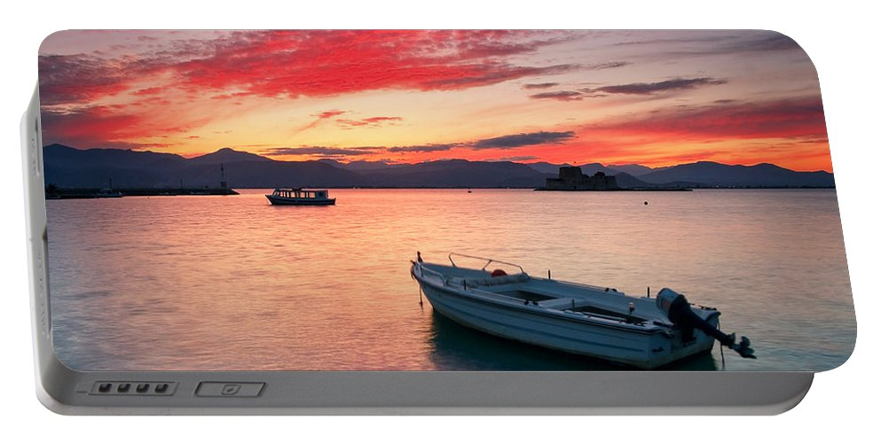 Greece Portable Battery Charger featuring the photograph fishing boats 'II by Milan Gonda