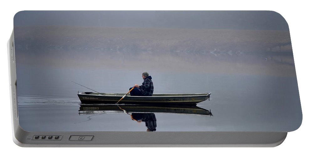 Fishing Portable Battery Charger featuring the photograph Fishing Day Fog by Sandi OReilly