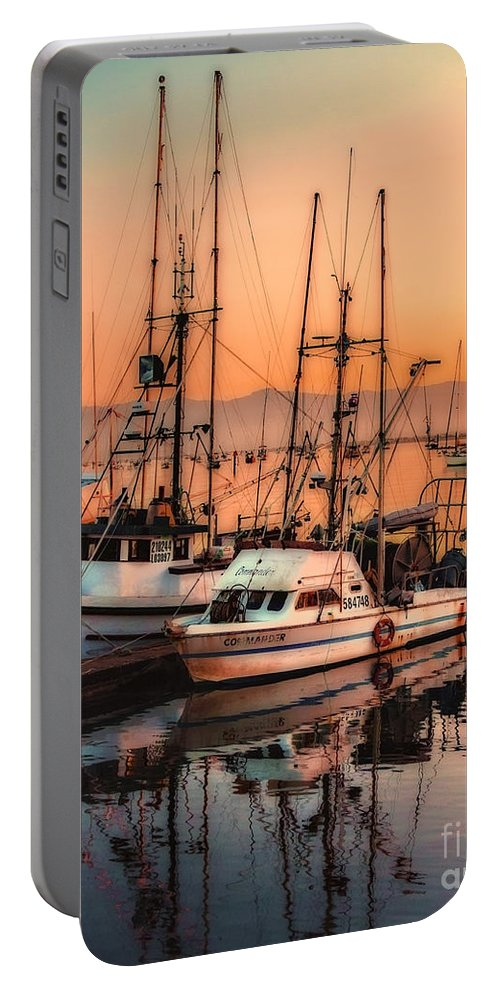 Fishing Fleet Sunset Boat Reflection At Morrow Bay Wharf California Portable Battery Charger featuring the photograph Fishing Fleet Sunset Boat Reflection At Fishermans Wharf Morro Bay California by Jerry Cowart