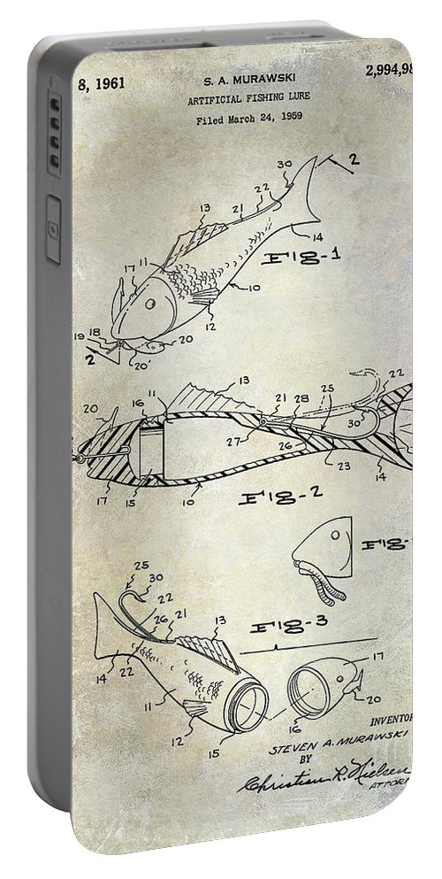 Fly Fishing Lure Portable Battery Charger featuring the photograph Fishing Lure Patent 1959 by Jon Neidert