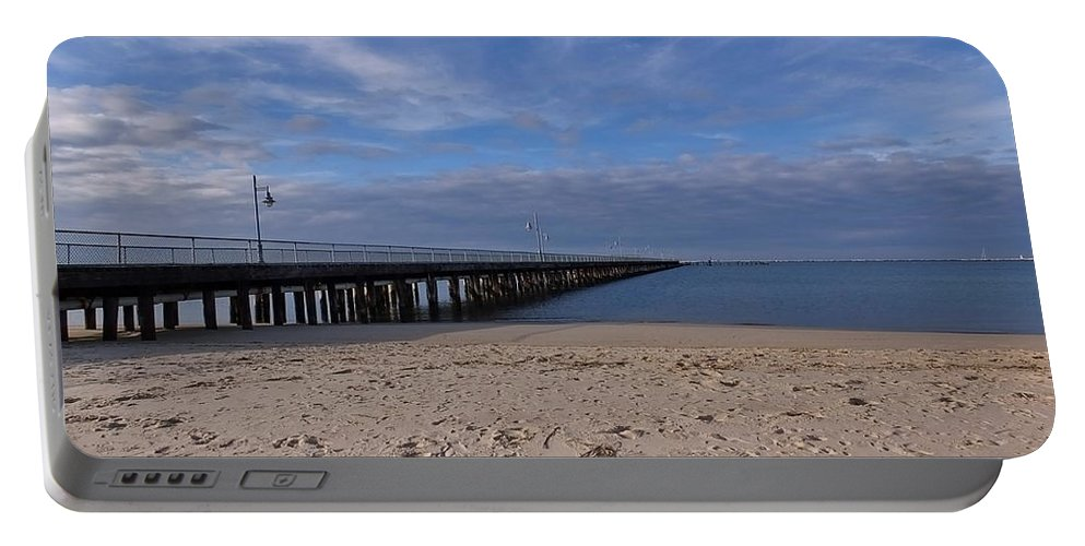Cape Henlopen Portable Battery Charger featuring the photograph Fishing Pier 3 by Francie Davis