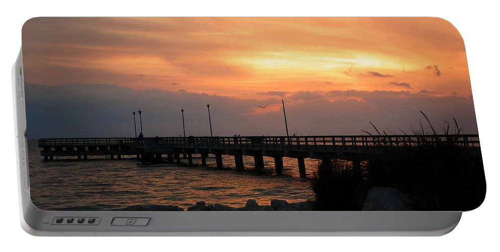 Sunrise Portable Battery Charger featuring the photograph Fishing Pier Sunrise by Leticia Latocki