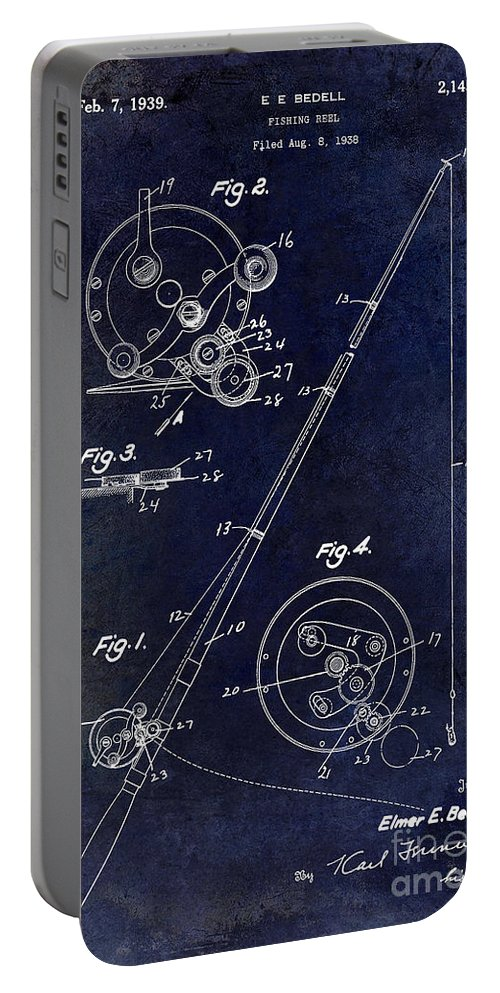 Fly Fishing Lure Portable Battery Charger featuring the photograph Fishing Reel Patent 1939 Blue by Jon Neidert