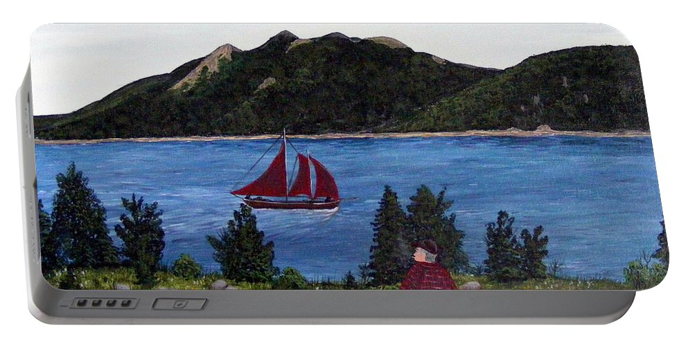 Ship Portable Battery Charger featuring the painting Fishing Schooner by Barbara Griffin