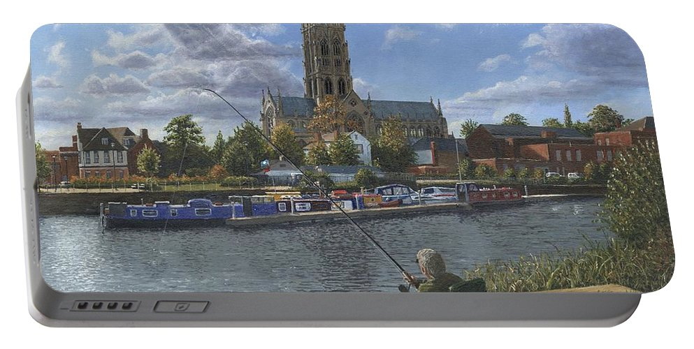The Minster Church Of Saint George Portable Battery Charger featuring the painting Fishing With Oscar - Doncaster Minster by Richard Harpum