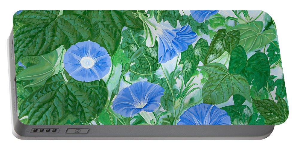 Morning Glory Flowers Portable Battery Charger featuring the painting Five Faces Of Bridget by John Wilson
